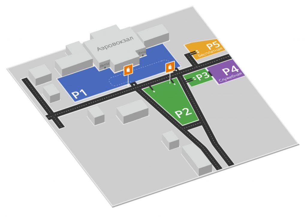 Схема парковки аэропорта Тюмень Рощино